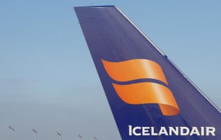 Icelandair's logo on the tail wing of a Boeing 757ALEXANDER KLEIN/AFP/Getty Images