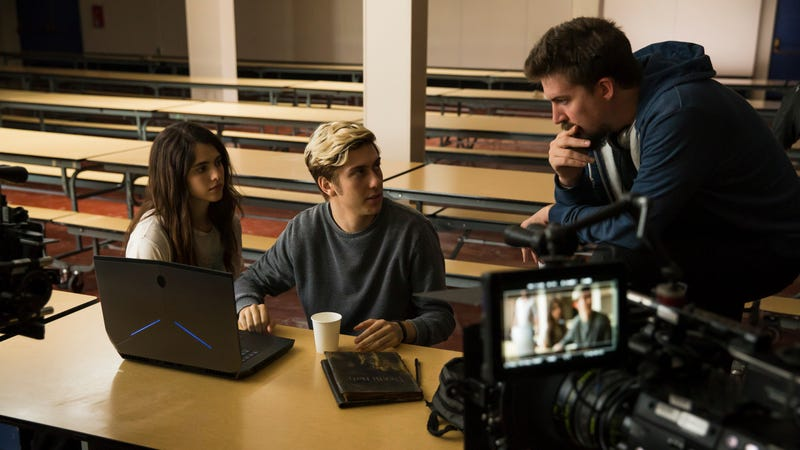 Margaret Qualley, Nat Wolff, and Adam Wingard on the set of Death Note. Image: James Dittiger/Netflix