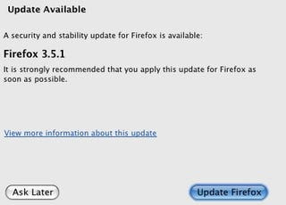 Illustration for article titled Firefox 3.5.1 Update Now Available, Fixes Security Issue