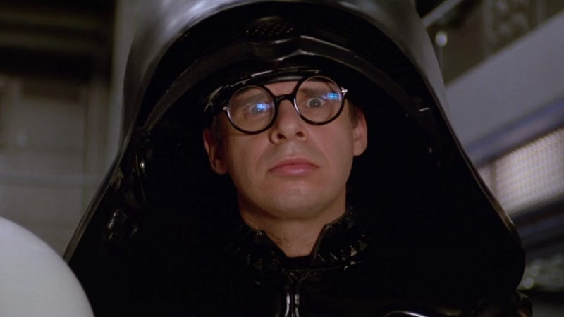 Rick Moranis will provide his voice to an episode of The Goldbergs this week, reprising the role of Dark Helmet from Mel Brooks' 1987 Star Wars spoof Spaceballs.