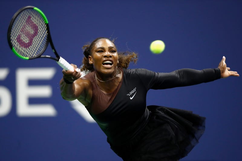 Serena Williams during her women's singles first round match against Magda Linette of Poland on Day One of the 2018 US Open at the USTA Billie Jean King National Tennis Center on August 27, 2018 in Queens, New York.