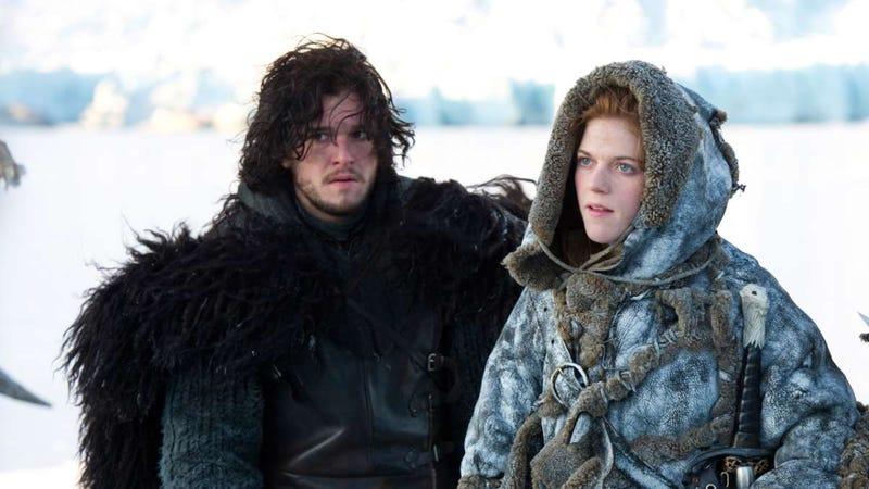 Ygritte (Rose Leslie) presumably giving Jon Snow (Kit Harington) the silent treatment.