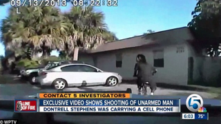 Dash-cam footage from Sept. 13, 2013, shows the moments before Dontrell Stephens, 22, was shot by a Palm Beach County, Fla., sheriff's officer.WPTV screenshot