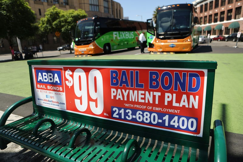 A sign advertises a bail bond company on August 29, 2018 in Los Angeles, California.