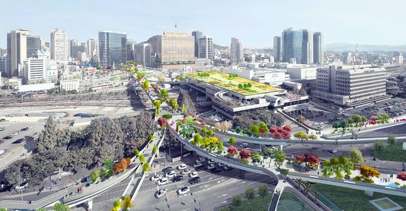 Illustration for article titled Seúl convertirá una autopista abandonada en un enorme jardín elevado