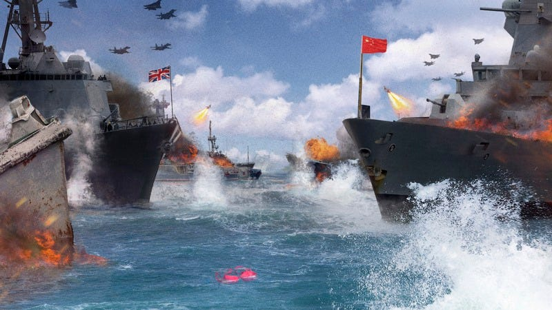 English and Chinese ships firing at each other over a bra found at sea.
