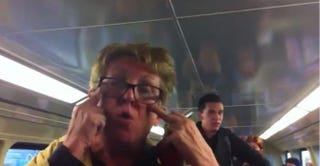 An unidentified woman unleashes racist rant aboard a train in Australia. Kareem Abdul/YouTube