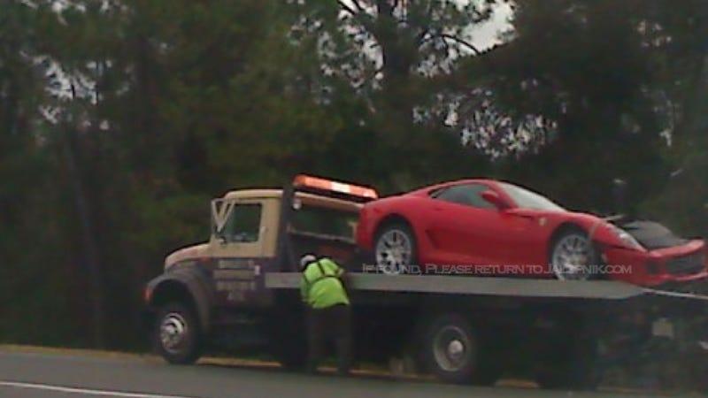 Illustration for article titled $320,000 Ferrari Crashes On Wet Florida Highway
