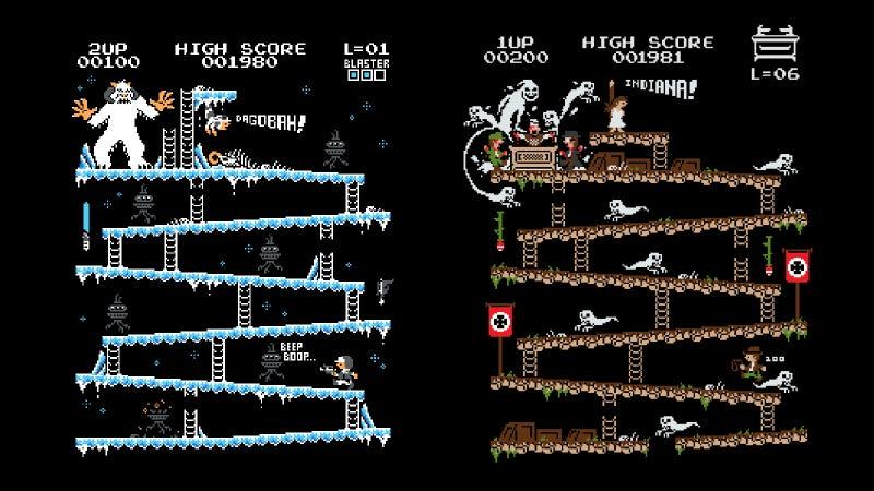 Illustration for article titled El mundo necesita estas versiones de Star Wars e Indiana Jones basadas en Donkey Kong