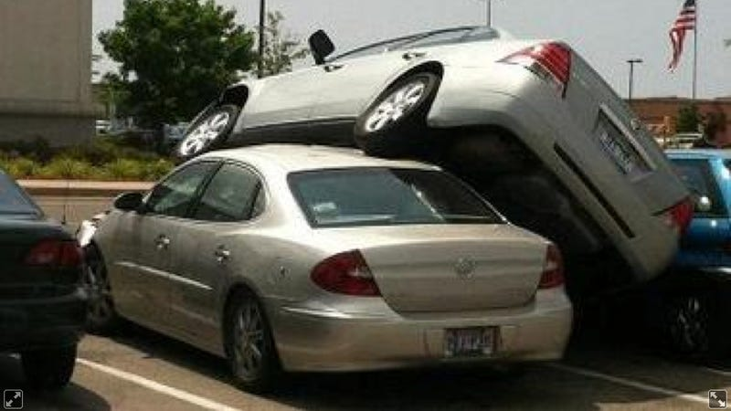 Illustration for article titled A 13-Year Old Launched Her Grandma's Car On Top Of This Buick