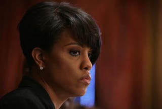 Baltimore Mayor Stephanie Rawlings-Blake pauses during a news conference at City Hall April 24, 2015 in Baltimore. Photo by Alex Wong/Getty Images