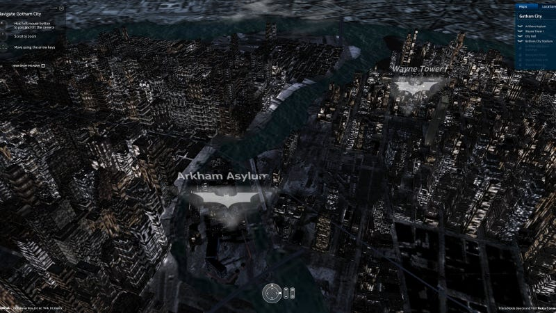 Illustration for article titled All of Gotham City in 3D (Or Traditional) Online Map Form