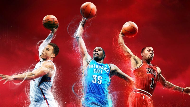 Illustration for article titled Three of a Kind: NBA 2K13 Sees a Winning Hand in Durant, Rose and Griffin