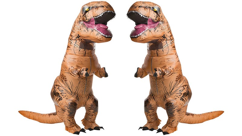 instead of waiting until the last possible minute to decide on a costume this year why not just order this jurassic world inflatable t rex getup from