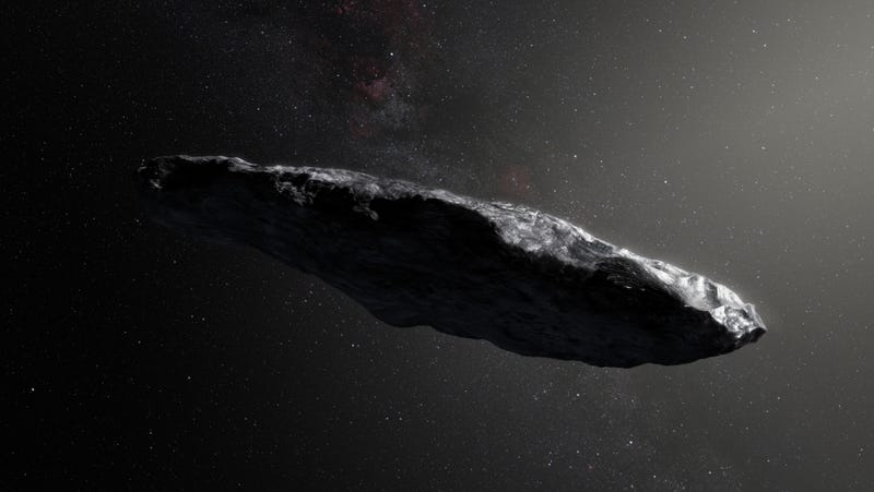 Illustration for article titled Study Finds Weird Interstellar Object 'Oumuamua Is Indeed a Smol Boi