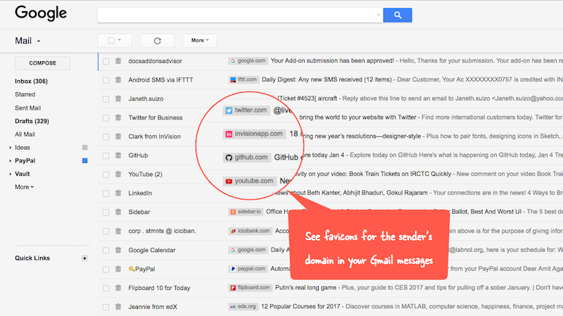 Illustration for article titled Gmail Sender Icons Adds Favicons to Gmail for Easier Skimming