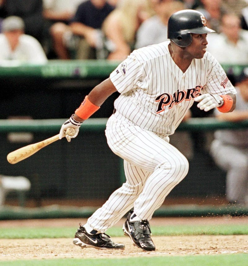 National League player Tony Gwynn hits a single for two runs during the third inning of the 1998 Major League All-Star game 07 July at Coors Field in Denver, Colorado.    JEFF HAYNES/AFP/Getty Images
