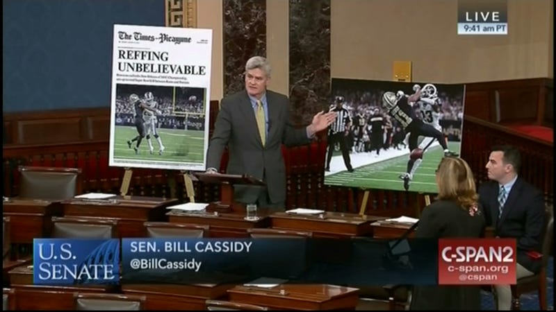 Illustration for article titled Useless Senator From Louisiana Takes To The Floor To Moan About The Saints Game