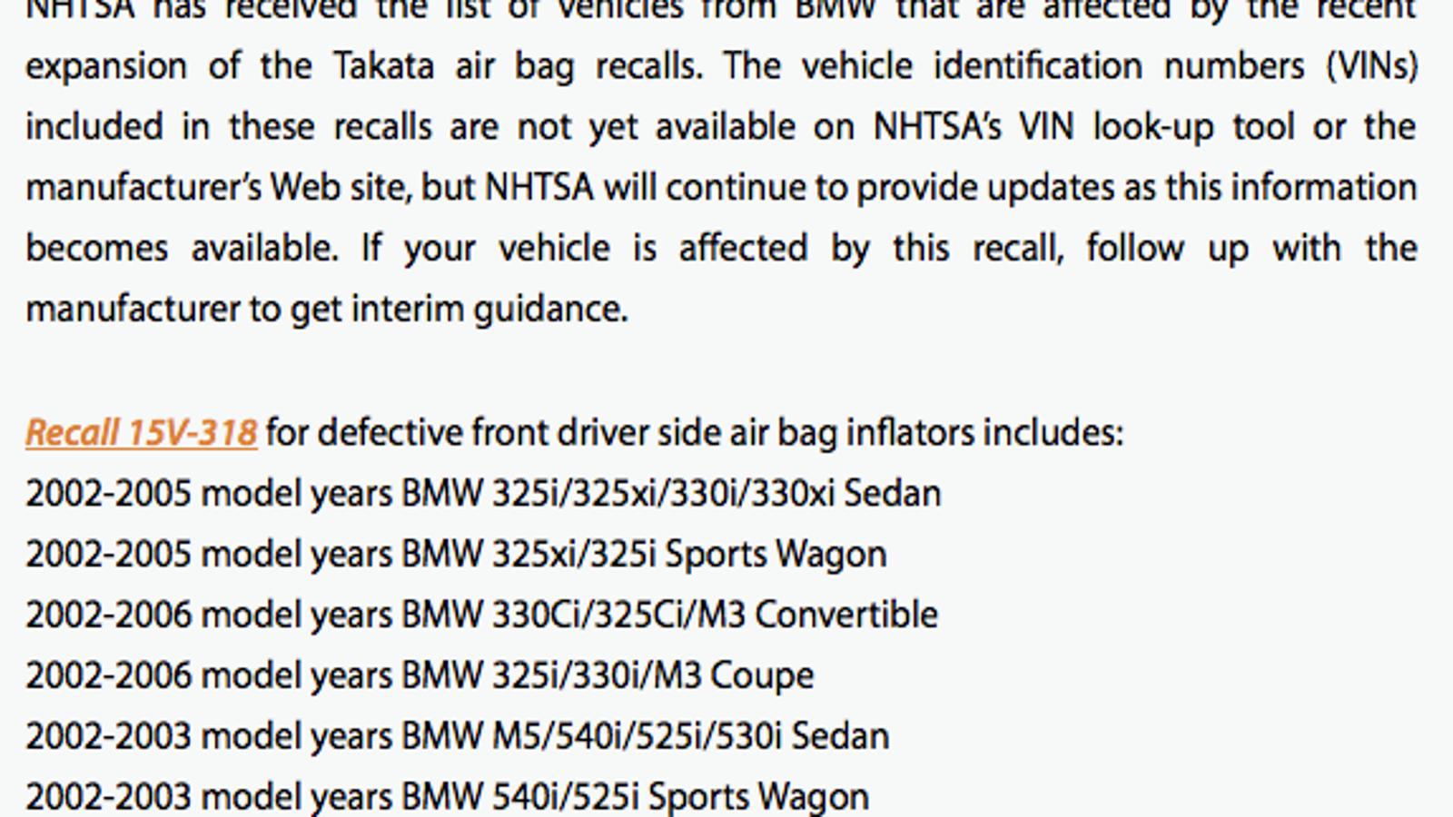 PSA: Takata recalls now affect many early 00s BMWs (e39, e46