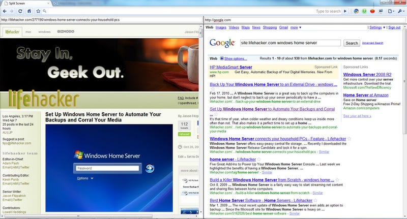 Split Screen Slices Your Chrome Window into Two Panes