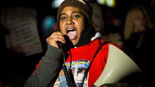 Erica Garner, daughter of Eric Garner, leads a march Dec. 11, 2014, protesting a grand jury's decision not to indict a police officer involved in the July choke hold death of her father.Andrew Burton/Getty Images