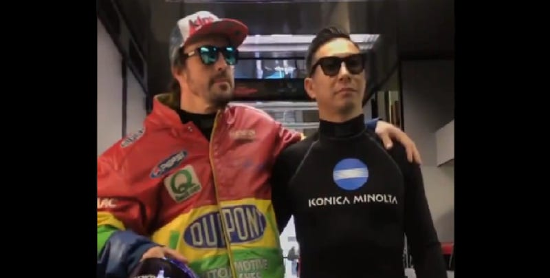 Illustration for article titled Fernando Alonso and Kamui Kobayashi Embrace Their Inner Rodney Sandstorm