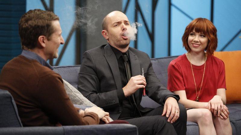 Scott Aukerman, Paul Scheer, Carly Rae Jepsen (Greg Gayne/IFC)