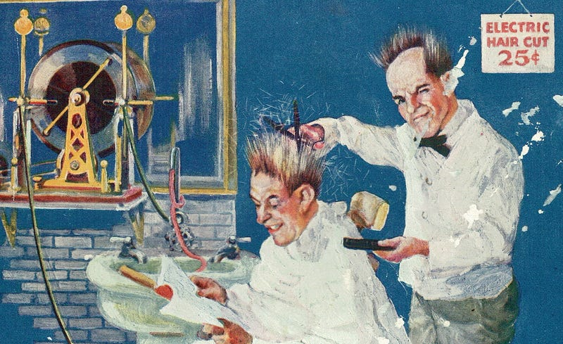 An electric haircut of the future (scanned from the August 1923 issue of Practical Electrics magazine)