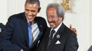 President Barack Obama shakes hands with 2012 National Medal of Arts recipient Allen Toussaint for his contributions as a composer, producer and performer during a ceremony in the East Room of the White House July 10, 2013, in Washington, D.C.Pete Marovich/Getty Images