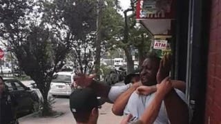 Video footage of police in Staten Island, N.Y., attempting to handcuff Eric Garner that shows an officer placing him in a choke hold July 17, 2014YouTube screenshot