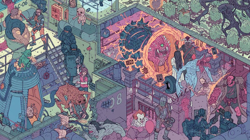 A crop of Raid 2, a poster by Laurie Greasley and Josan Gonzalez.