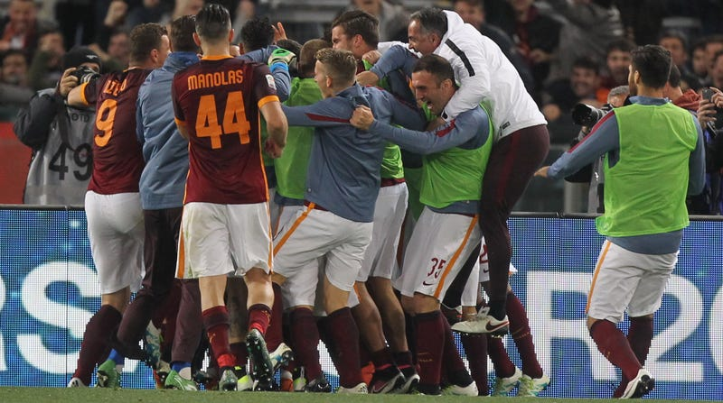 Francesco Totti is in there ... somewhere. (Photo credit: Paolo Bruno/Getty)
