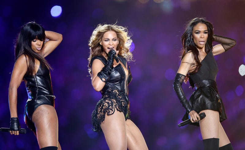 Kelly Rowland, Beyoncé and Michelle Williams perform during the Pepsi Super Bowl XLVII Halftime Show at the Mercedes-Benz Superdome on Feb. 3, 2013, in New Orleans.