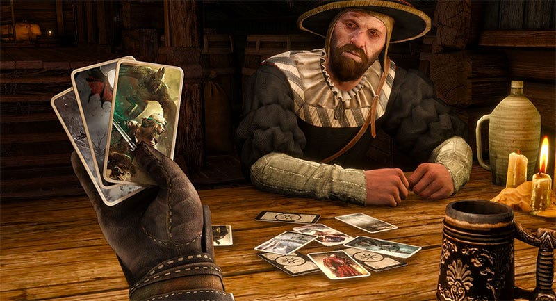 Illustration for article titled Witcher 3 Mod Replaces All Combat With Gwent Games