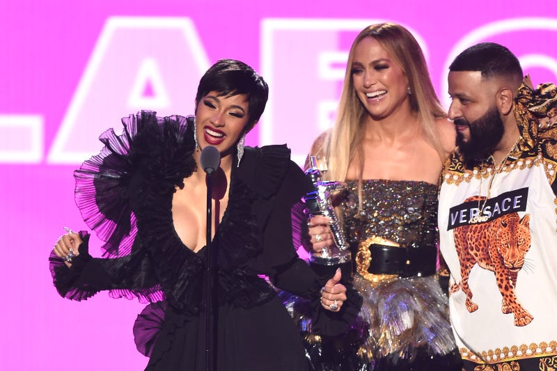 Cardi B, Jennifer Lopez, and DJ Khaled accept the award for Best Collaboration onstage during the 2018 MTV Video Music Awards at Radio City Music Hall on Aug. 20, 2018, in New York City.