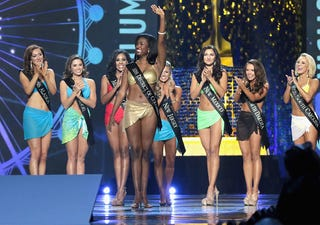 Miss District of Columbia 2017 Briana Kinsey participates in the swimsuit challenge during the 2018 Miss America Competition Show at Boardwalk Hall Arena on Sept. 10, 2017, in Atlantic City, N.J.