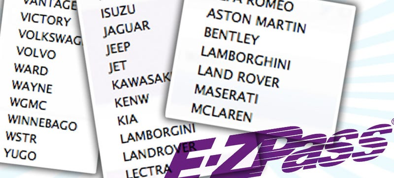 Illustration for article titled E-Z Pass Has The Most Insanely Comprehensive Vehicle List Ever
