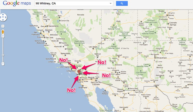 Where Is Mount Whitney On The California Map.Google Misplaced The Biggest Mountain In The Continental United States