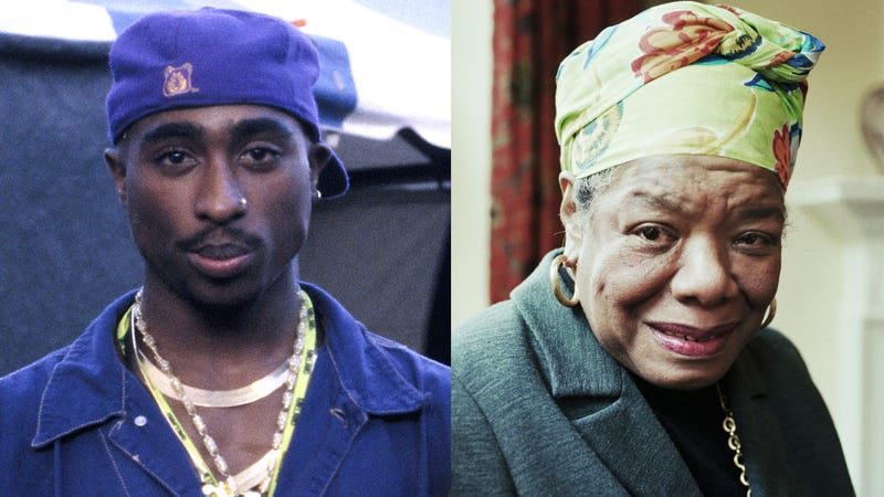 Tupac Shakur (Tim Mosenfelder/Getty Images); Maya Angelou (Martin Godwin/Getty Images)