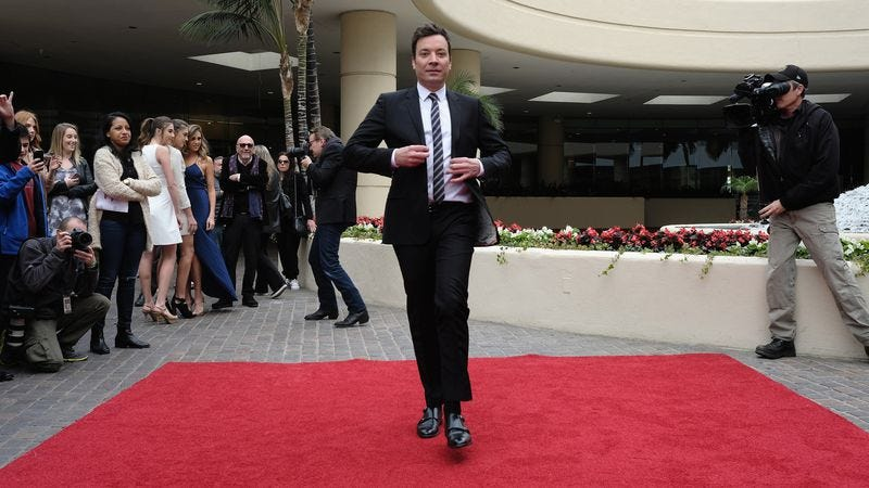 Jimmy Fallon struts at Golden Globes preview day last week (Photo: Alberto E. Rodriguez/Getty Images)