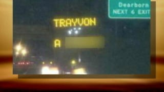 Illustration for article titled Electronic Road Sign Hacked With Racist Trayvon Martin Message