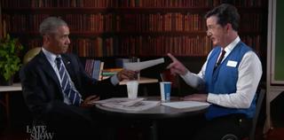 President Barack Obama and Late Show host Stephen ColbertYouTube Screenshot