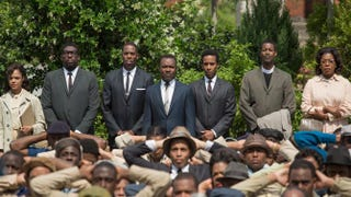 Background: Tessa Thompson, who plays Diane Nash; Omar Dorsey, who plays James Orange; Colman Domingo, who plays Ralph Abernathy; David Oyelowo, who plays Martin Luther King Jr.; André Holland, who plays Andrew Young; Corey Reynolds, who plays the Rev. C.T. Vivian; and Lorraine Toussaint, who plays Amelia Boynton in the movie Selma.Atsushi Nishijima