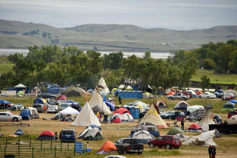 The Missouri River is seen beyond an encampment Sept. 4, 2016, near Cannon Ball, N.D., where hundreds of people have gathered to join the Standing Rock Sioux tribe's protest of the Dakota Access Pipeline.ROBYN BECK/AFP/Getty Images