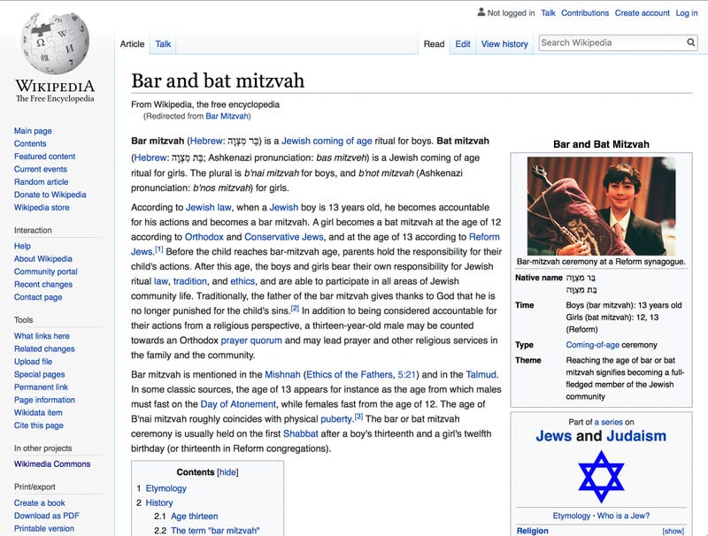Illustration for article titled Lucky Bar Mitzvah Boy Gets To Be Picture For 'Bar Mitzvah' Wikipedia Page