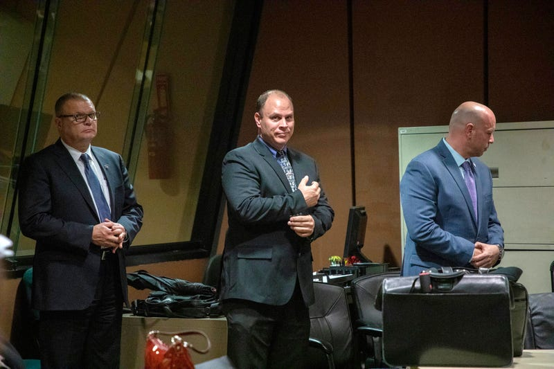 Former Detective David March, Chicago Police Officer Thomas Gaffney and former Officer Joseph Walsh appear at a pre-trial hearing at Leighton Criminal Court Building in Chicago.