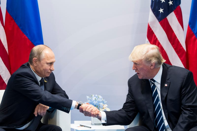 Russian President Vladimir Putin and President Donald Trump shake hands during the G-20 summit in Hamburg, Germany, on July 7, 2017. (Marcellus Stein/AP Images)