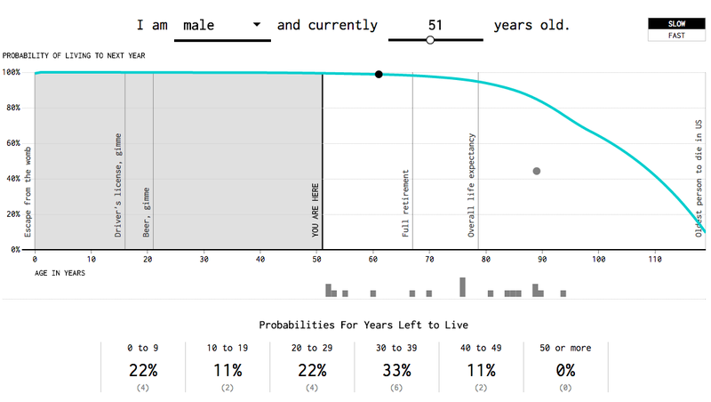 Illustration for article titled Fun Data Visualization Predicts When You're Going to Die