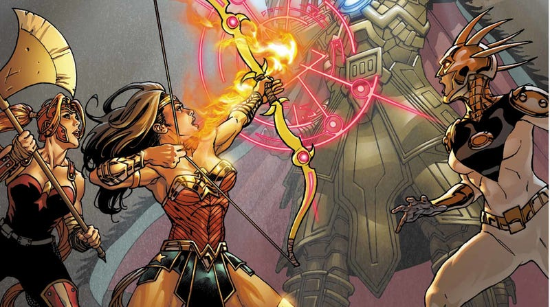 Illustration for article titled Wonder Woman and friends take on an Aztec god in this exclusive preview