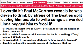 Illustration for article titled Drowned In Sound Says The Daily Mail Stole, Warped Paul McCartney Interview